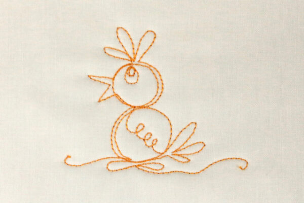 Free-motion stitched baby chick