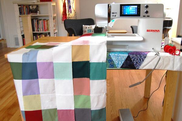 Minki Backed Patchwork Baby Quilt tutorial at WeAllSew