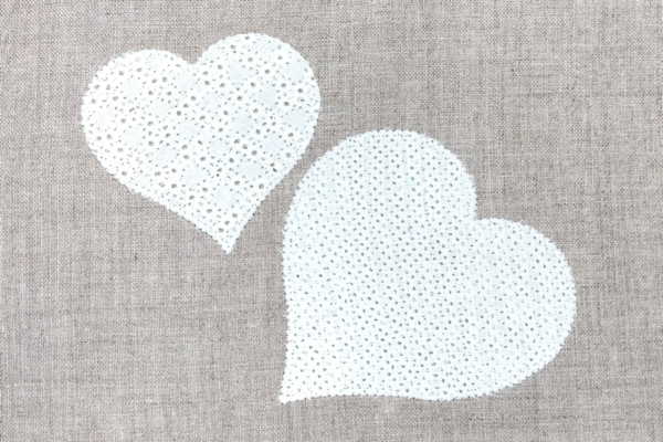 appliqued hemstitch hearts