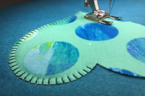 stitching a heart applique