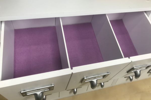 lined and divided drawer