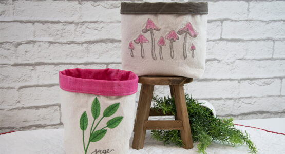 Embroidered Fabric Baskets