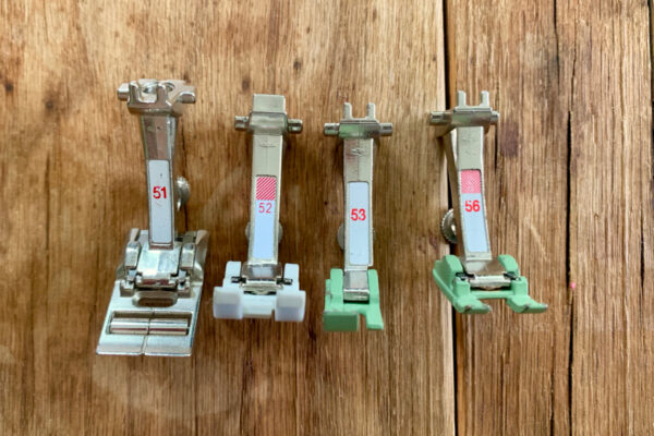 Presser feet for sewing leather on domestic machine