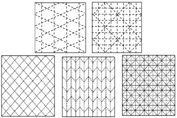 Diagram of simple sashiko grid designs