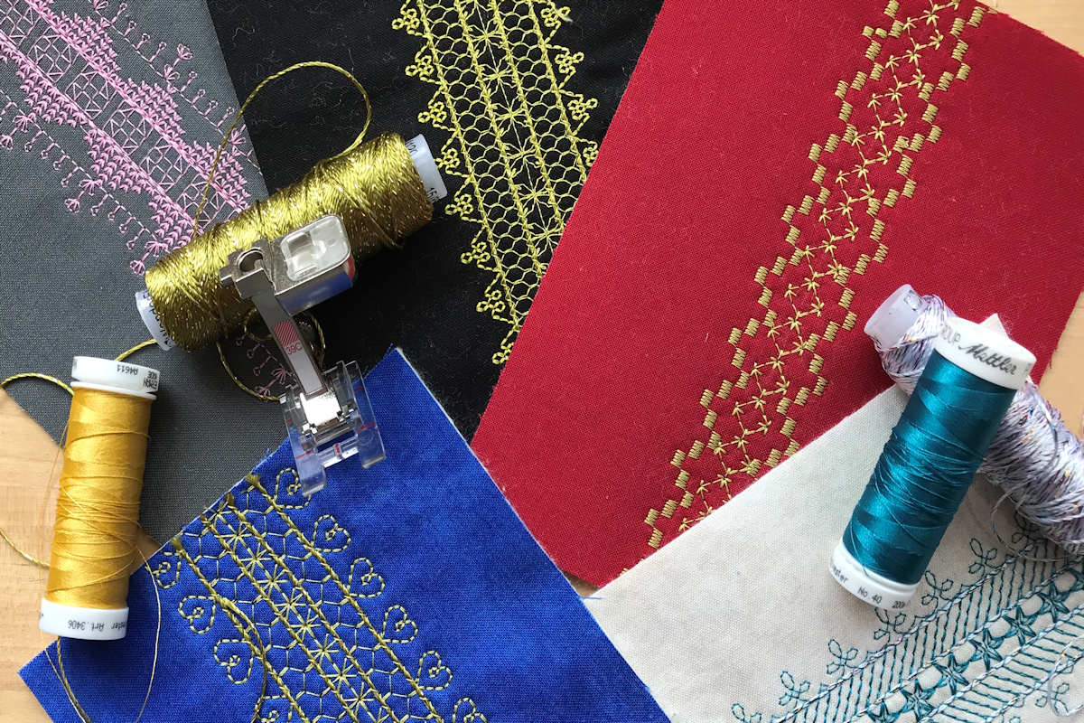sample bands of stitching