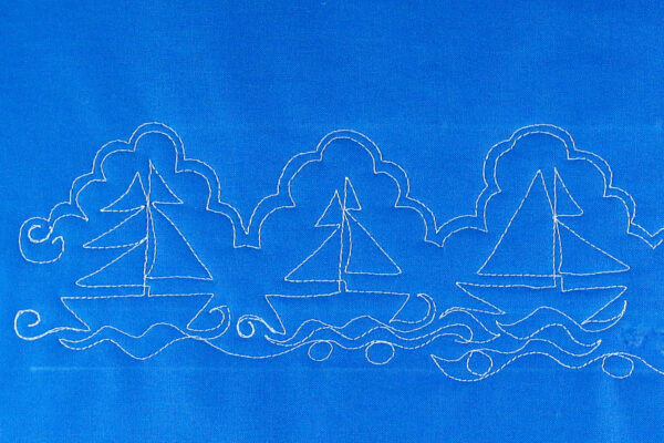 Free-motion Quilting Sailboats