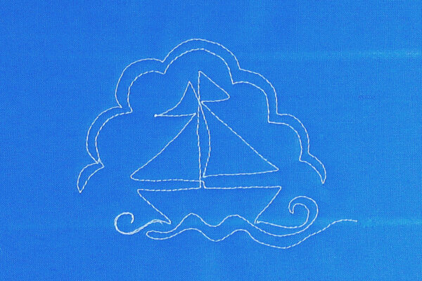 Free-motion Quilting Sailboats - create waves under the sailboat - add scallops for clouds