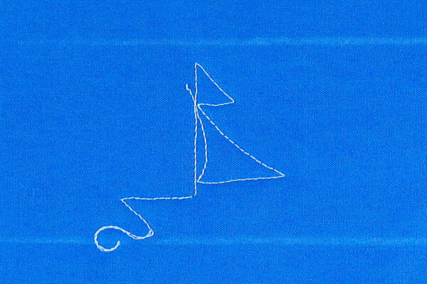 Free-motion Quilting Sailboats - create a curved line