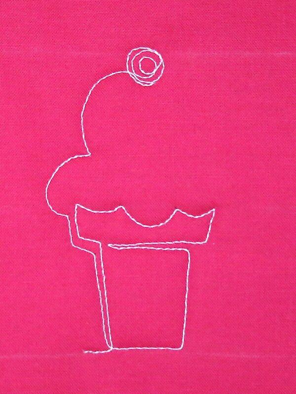 Free-motion Quilting Ice Cream Cones - step five