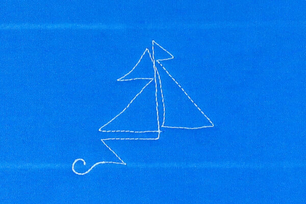 Free-motion Quilting Sailboats - create the second sail