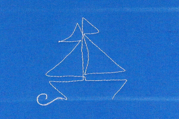 Free-motion Quilting Sailboats - create the front of the sailboat