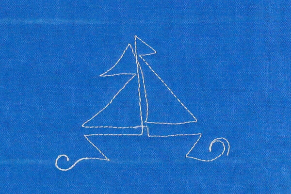 Free-motion Quilting Sailboats - echo stitch to create a wave