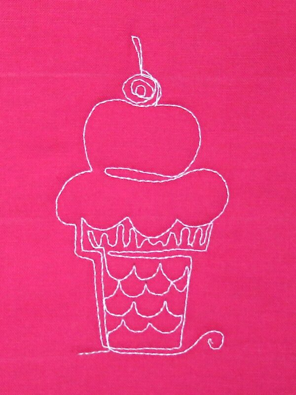 Free-motion Quilting Ice Cream Cones - finishing step