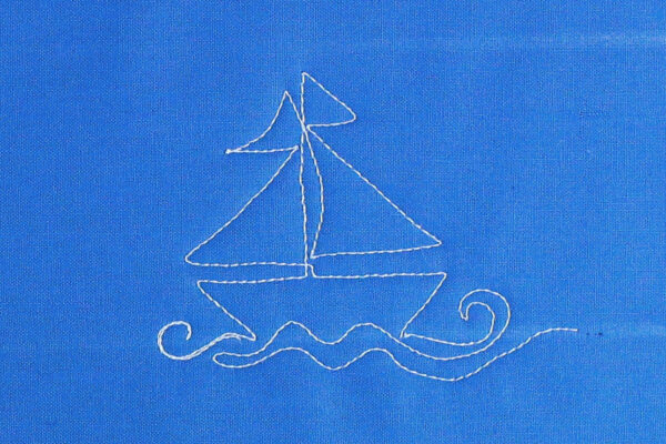 Free-motion Quilting Sailboats - create waves under the sailboat
