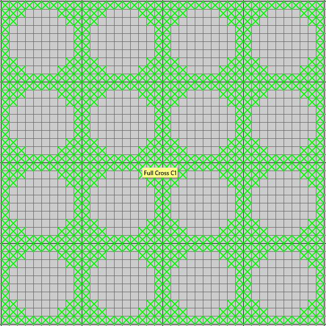Cross Stitch deltion mask - neon grid - 4x4 inch square