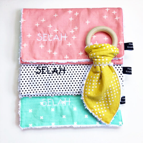 Baby Burp Cloth and Teether: Finished pieces