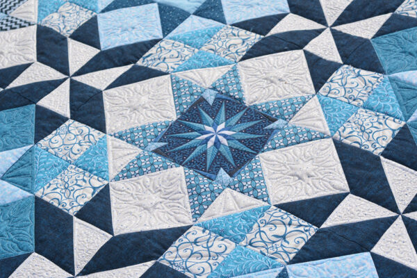added dimension when quilted around the stars in the finished quilt