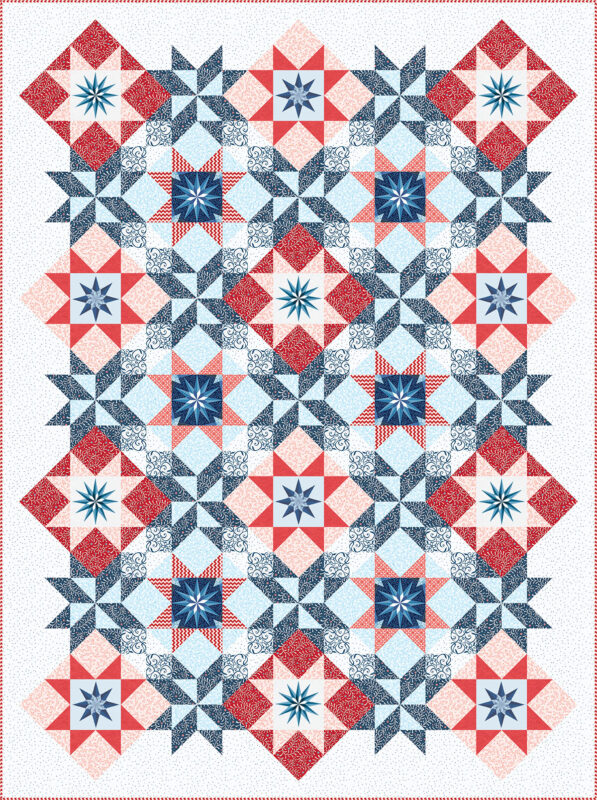 Stardust Quilt - red and blue with bright background