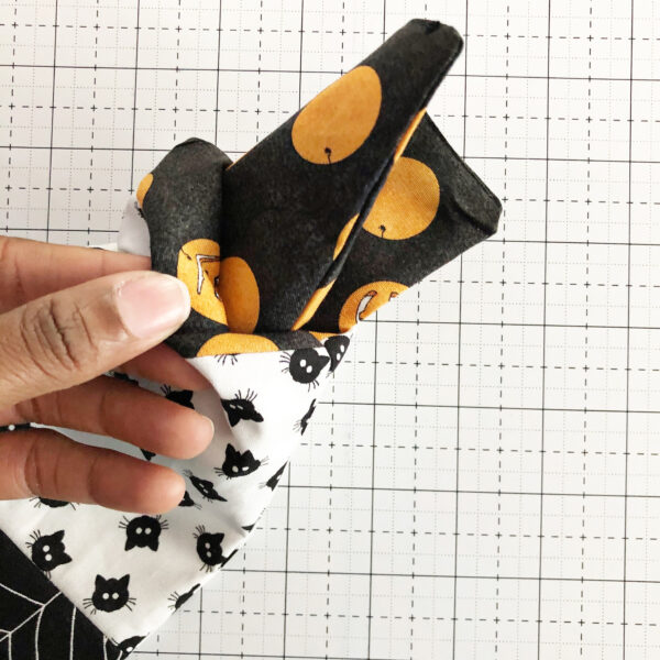 Halloween Mini Treat Bag: Pushing the lining inside the bag