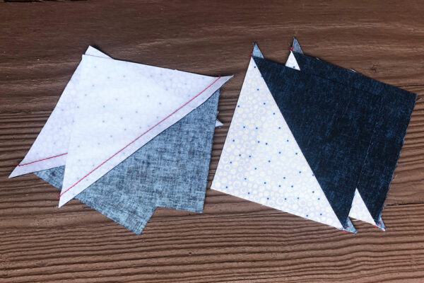Stardust quilt-along - Press all the half-square units the same direction