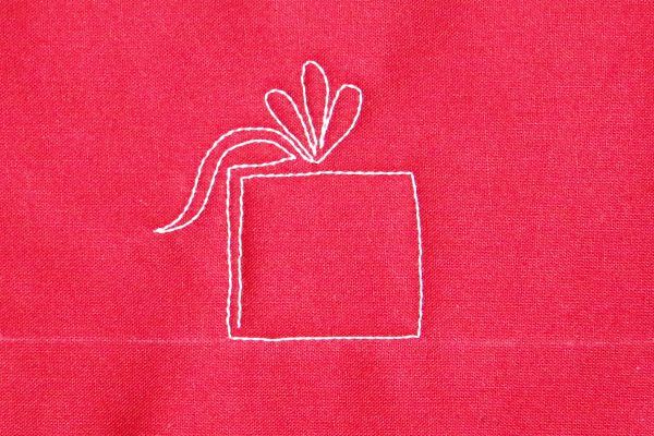 How to free-motion quilt pretty packages - step four