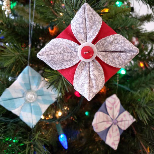 Folded Fabric Ornament Tutorial at WeAllSew