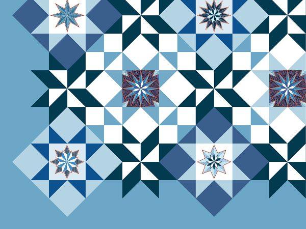 Stitching around the embroidered stars
