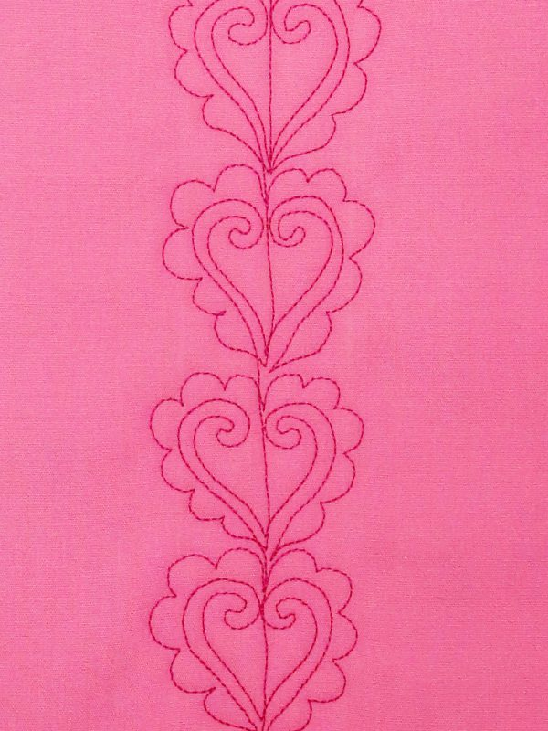 how to free-motion quilt scalloped hearts, step ten