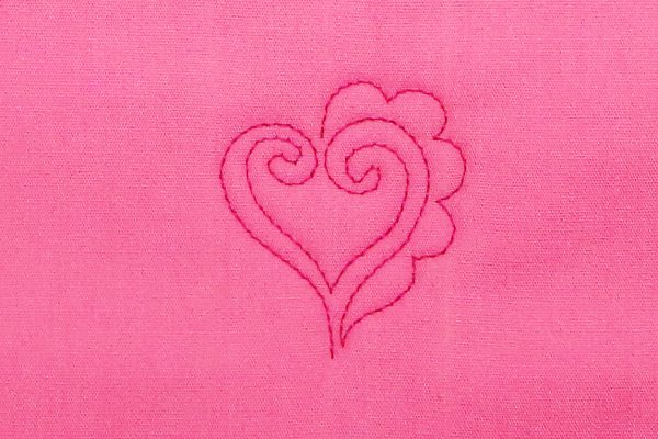 how to free-motion quilt scalloped hearts, step six