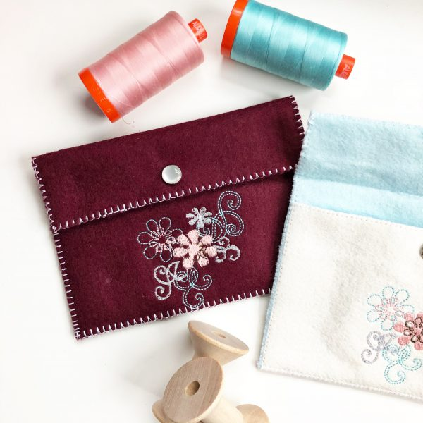 Embroidered Felt Pouch: Add a snap closure