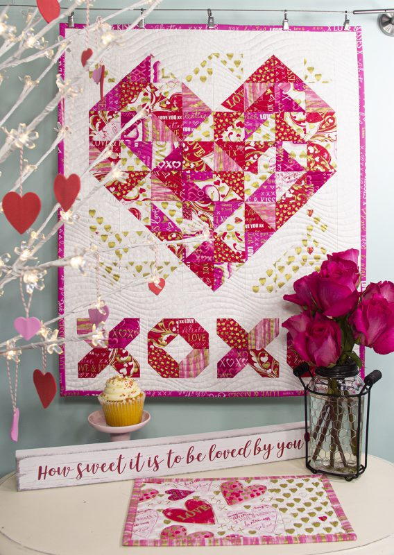 Hugs and Kisses Mini Quilt Tutorial from WeAllSew