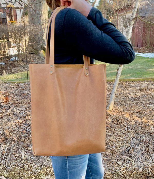 Leather Tote Bag Pocket