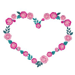 Rosey Heart Embroidery Design