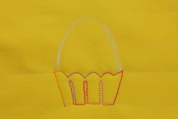 Free-motion Quilted Eggs in a Basket - step four