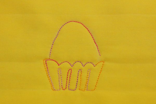 Free-motion Quilted Eggs in a Basket - step five