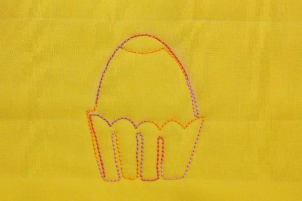 Free-motion Quilted Eggs in a Basket - step six