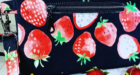 Summer Is Here! Strawberry Cotton Canvas Wallet