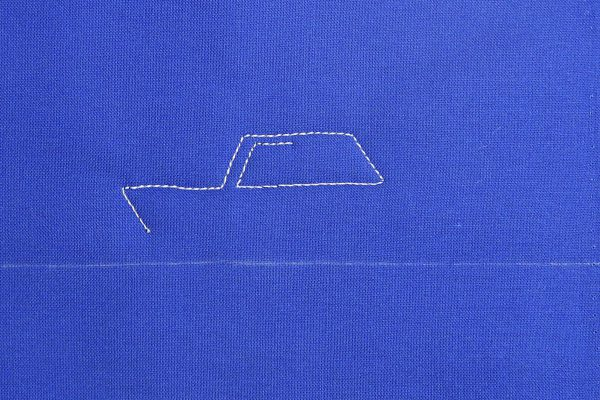How to free-motion quilt vintage cars, step three
