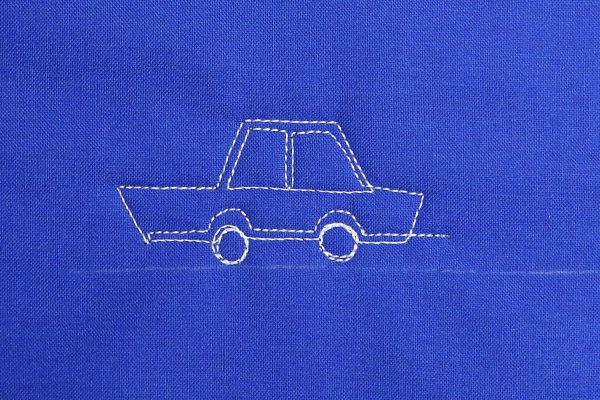 How to free-motion quilt vintage cars, step six