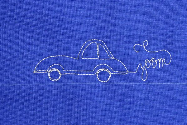 How to free-motion quilt vintage cars, step eight