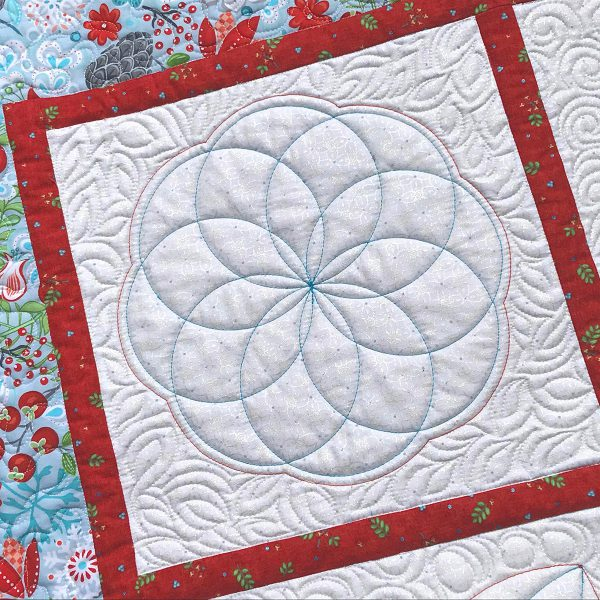 BERNINA Blossoms Quilt block with Rulerwork