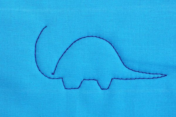 How to Free-motion Quilt Dinosaurs, step three