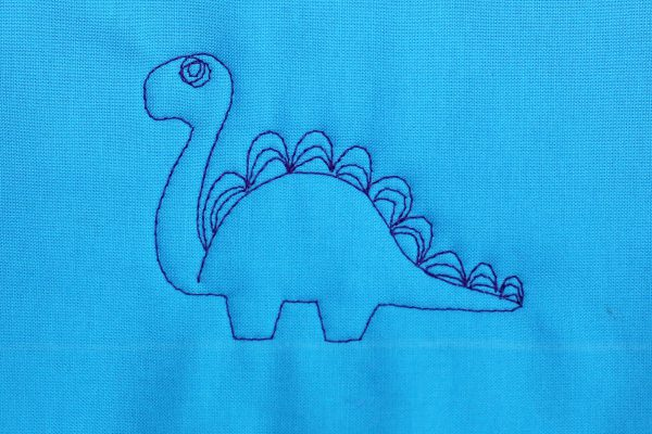 How to Free-motion Quilt Dinosaurs, step eight