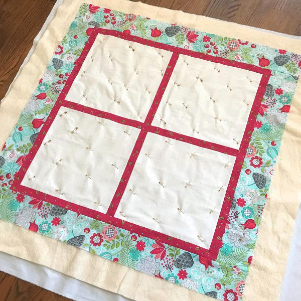 BERNINA_Blossoms_Quilt_SamplerPin basting about a fist's-width apart