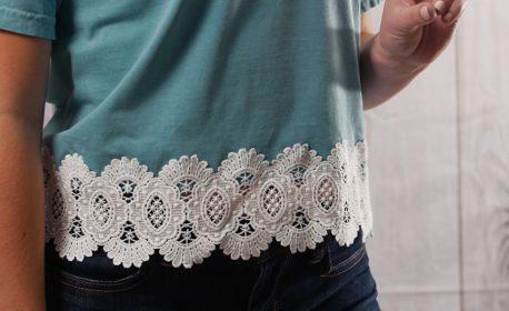 Upcycled Lace Hem T-shirt