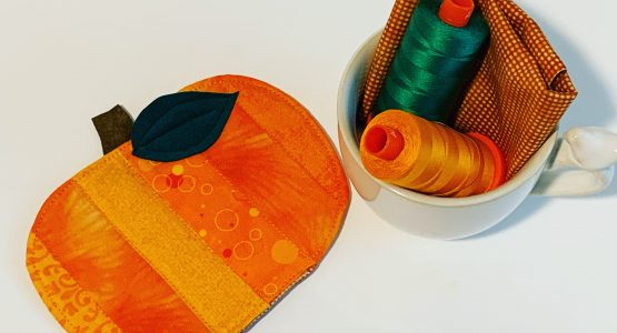 Cute Pumpkin 🎃 Mug Rug Sewn With My BERNINA