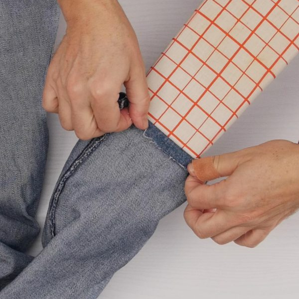 How to easily hem Jeans - first turn of hem