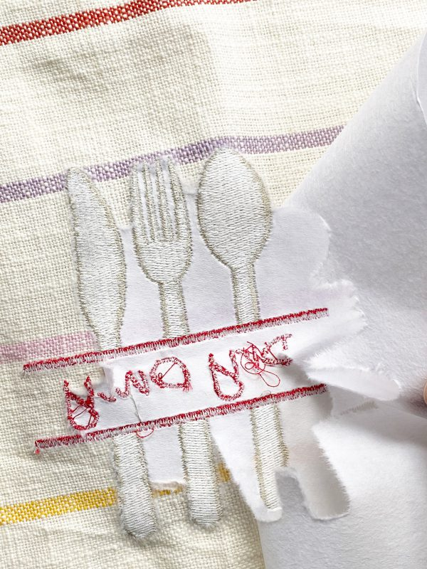Embroidery Dish Cloth Tutorial: Unhoop and clean up the embroidery dish cloths