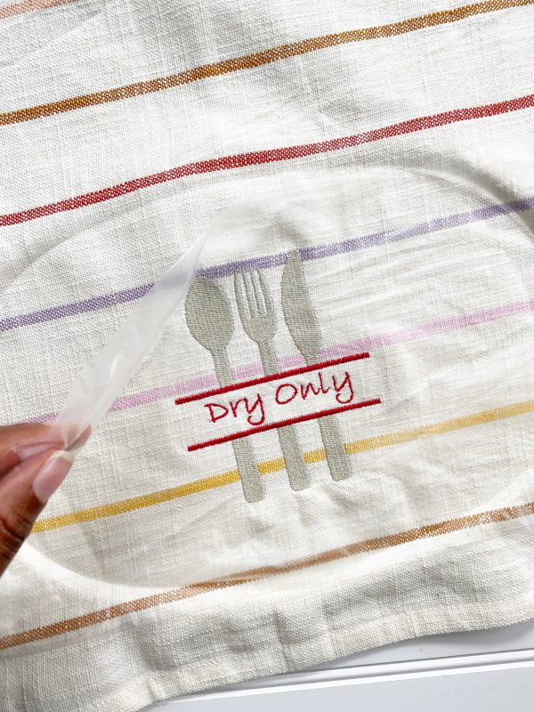 Embroidery Dish Cloth Tutorial: Unhoop and clean up the embroidered dish cloths