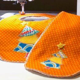 Appliqued Bib Burp Cloth Set Tutorial: completed project
